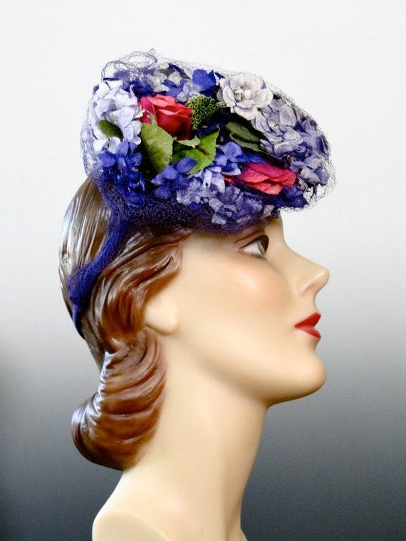 1940's Tilt Hat Fascinator Pink Lilac Purple Mill… - image 5