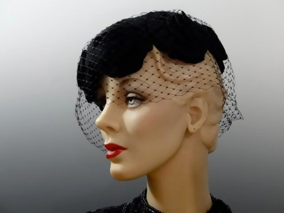 Black Chiffon Fascinator Vintage Cocktail Hat Large Cabbage  2d80451c6d3