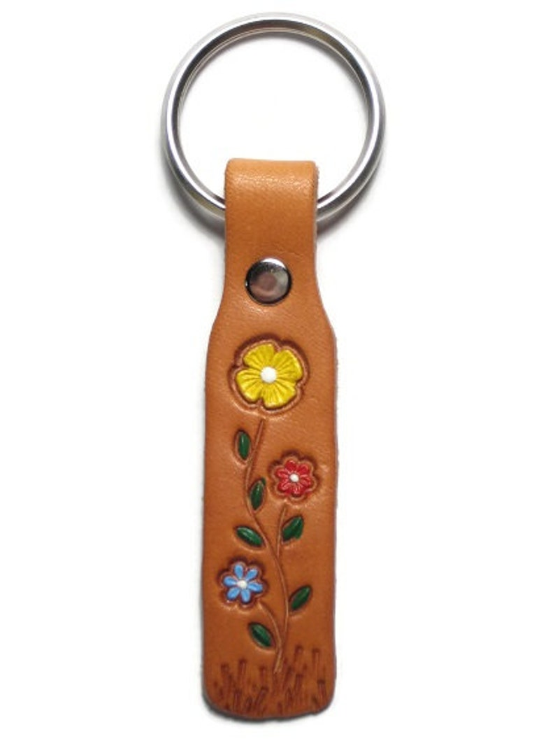 Mini Leather Keychain Hand Painted Wild Flowers Leather Key Fob Vintage 60/'s  70/'s Style Hand Tooled Leather Keychain Angel Leather