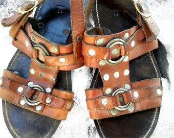 9910328dd149 Mens Sandals ~ Leather ~ Rivited Harness ~ Mens Summer Shoes ~ Nifty Beach  Vintage ~ Size 11   Adjustable Buckle Ankle Strap