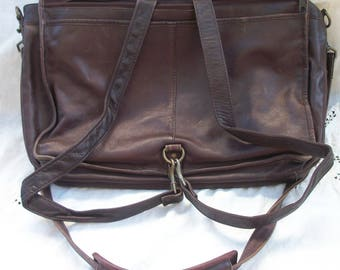 Vintage Leather Crossbody   Backpack ~ Tote ~ Satchel ~ Very Versatile -  School   Travel Bag ~ Flap Front ~ Unisex Design ~ Columbia 7c0930fe06fd7
