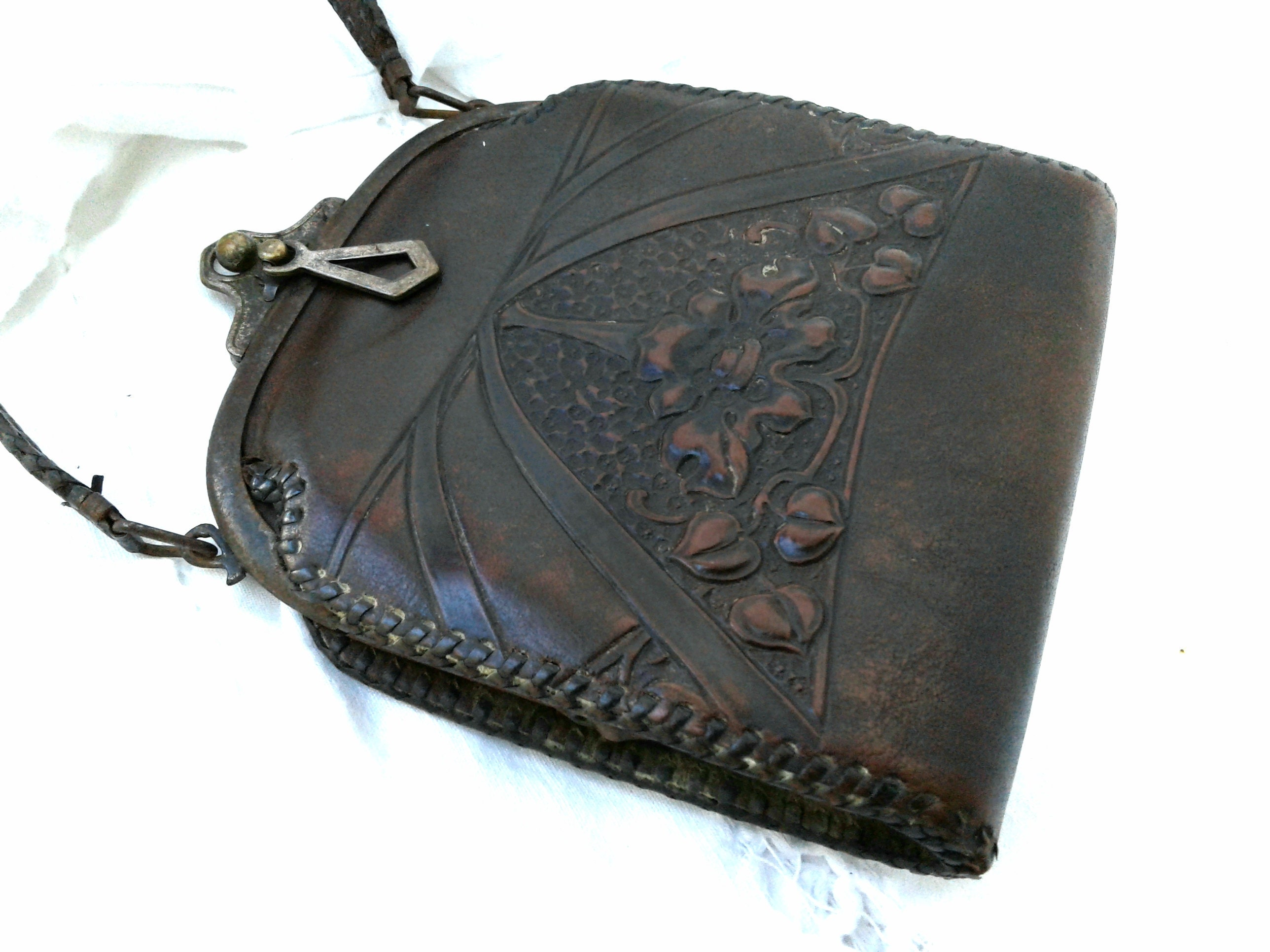 Antique Leather Purse Art Nouveau Early 1900s era Tooled   Etsy 133874e6d1
