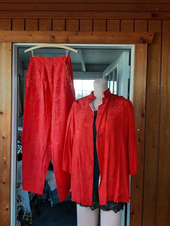 Red Silk Pajamas * Vintage 1950s era * Pants and T