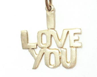 I LOVE YOU ~ 14k Yellow Gold Charm Pendant  ~ Vintage Sweet