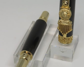lz - Keen Handcrafted Handmade African Blackwood 24kt Gold Train Rollerball Pen