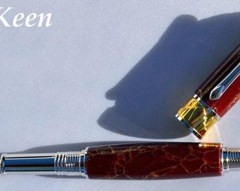 fj - Keen Handcrafted Handmade TruStone Maroon and Gold Matrix Broadwell Art Deco Rhodium and 22kt Gold Fountain Pen