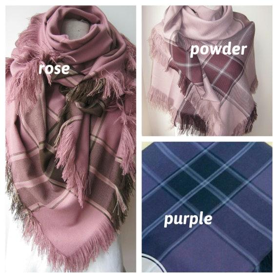 56b337496c60 Plaid couverture foulard violet-vieux rose poudre rose tartan   Etsy