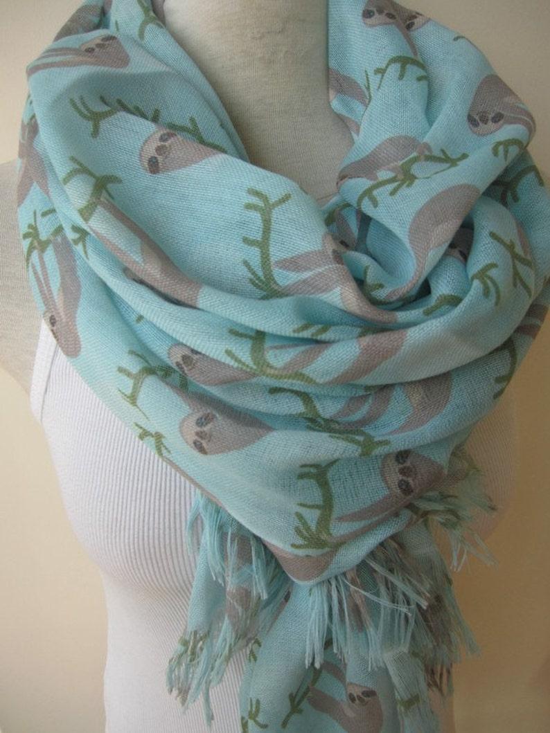 Animal scarves /Sloth scarf sloth print fabric Turquoise