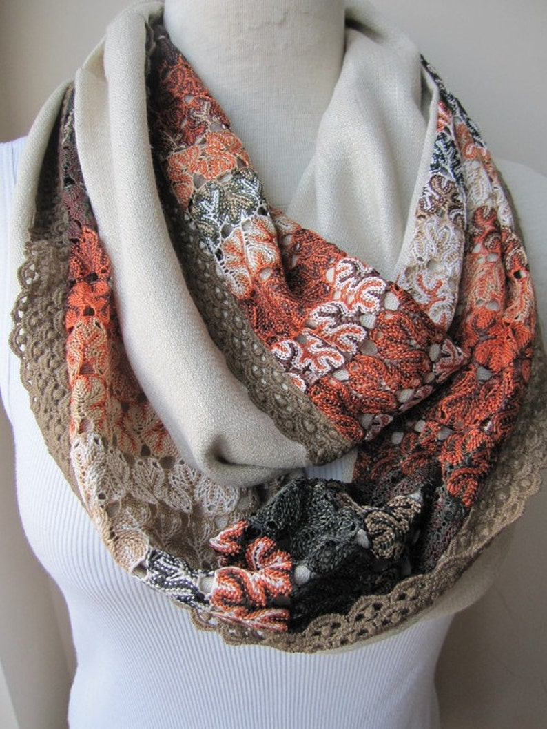 d8848a17cd0 Meerkat roux Orange beige dentelle foulards-lin infini femme