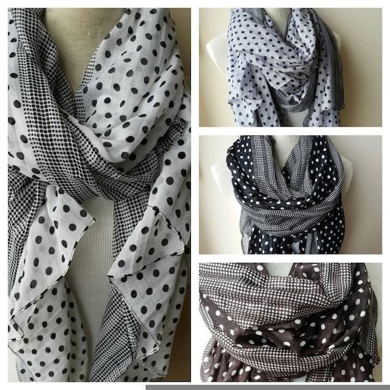 fb9747ffa437 Noir blanc gris marron à pois foulard-coton gaze oversize   Etsy