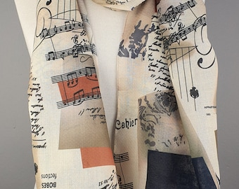 Music Scarf, Music Notes Scarf, Gift for Her, Gift For Musician, Musical Scarf, Musical Print Scarf, Book Text Writing Scarf for women man