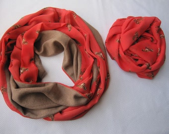 Red Fox scarf-fox print chiffon infinity scarf-Mommy & me scarves-women's scarves-valentines day gift for her-matching outfits-woman fashion