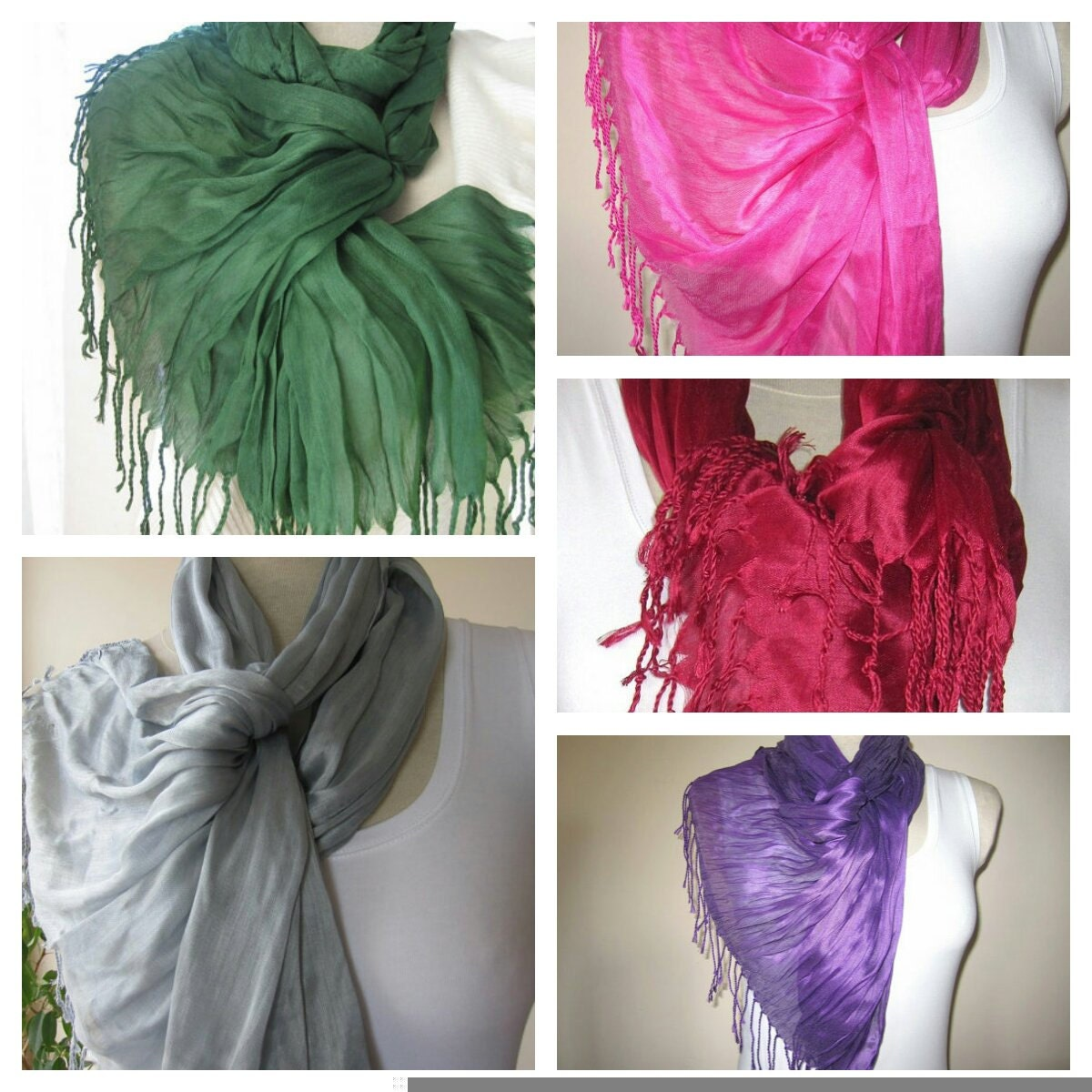 Colour Crush Emerald Green With Pink: Turkey Emerald Green Scarfburgundy Hot Pink Gray Purple Solid