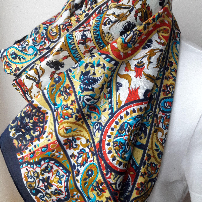 Noir élégant broderie Souple Femmes écharpe hijab cadeau de Noël Étole Wrap