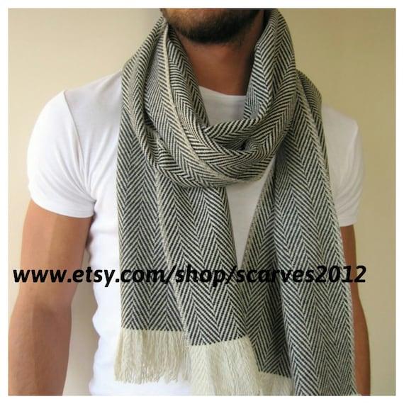 Foulard en tissu de laine dhiver ivoire blanc à chevrons   Etsy 972b4813214