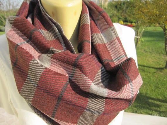 0630ae41e1d0 Plaid infini foulard tartan noir bordeaux gris à carreaux   Etsy