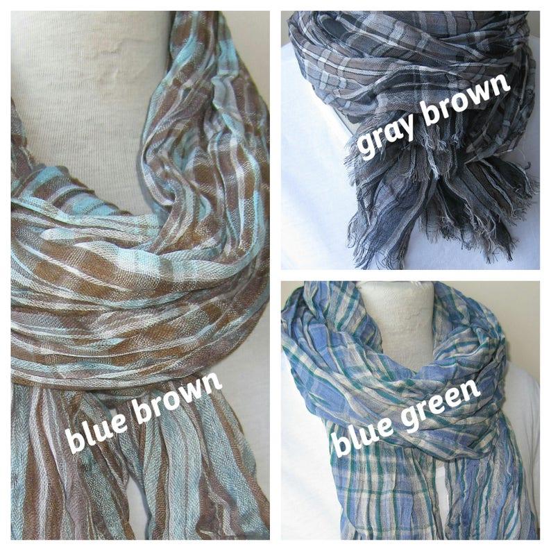6ddeb5b3a4b Crinkle plaid blue grey gray scarf Man fashion-mad cotton