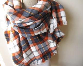 Denver Broncos scarves - Orange navy blue white, tartan Plaid Flannel shirt fabric Blanket Scarf-Women-Men-Denver Broncos fanatics Accessory