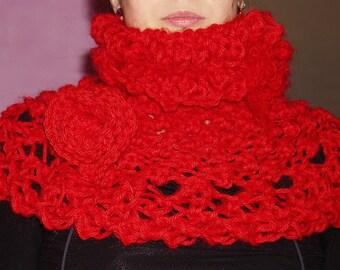 Collar snood poppy, alpaca and mohair hand knitted Merino Wool