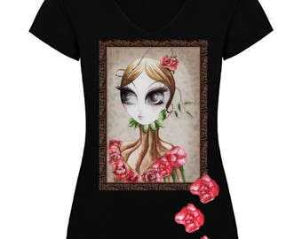 Women's Summer Tshirt with Roses