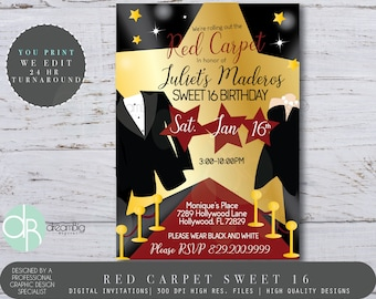 Red Carpet Sweet 16 Invitations Birthday Hollywood Party Invites Sixteen