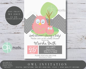 Owl Baby Shower Invitations, Owl Baby Shower, Owl Invites, Baby Shower Invitations,  Custom Baby Shower Invitation