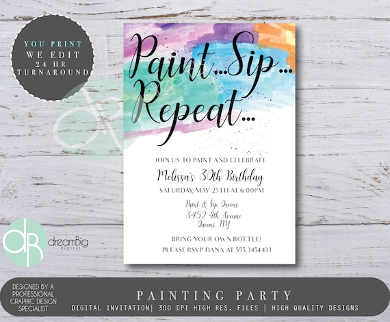 paint sip and repeat painting 30th birthday invitations art party