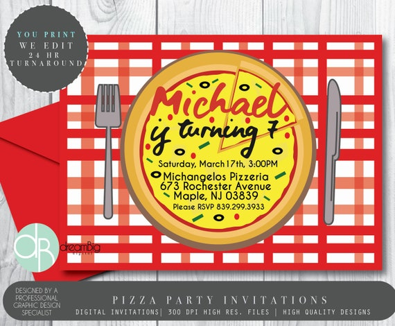 pizza party invitation pizza birthday invites pepperoni etsy