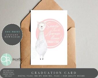 Llama Card, Congratulations On Your Graduation Card, Graduate Card, Well Done Card, Card for Graduation, Congrats Card, You Did It Card
