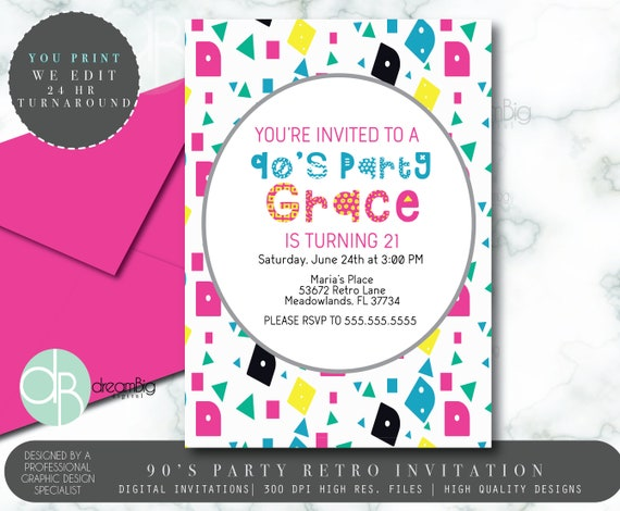 90s or 80s digital invitation 90s birthday invitations 80 s party