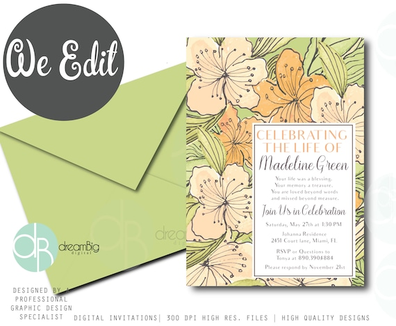 a celebration of life invitations watercolor floral tropical