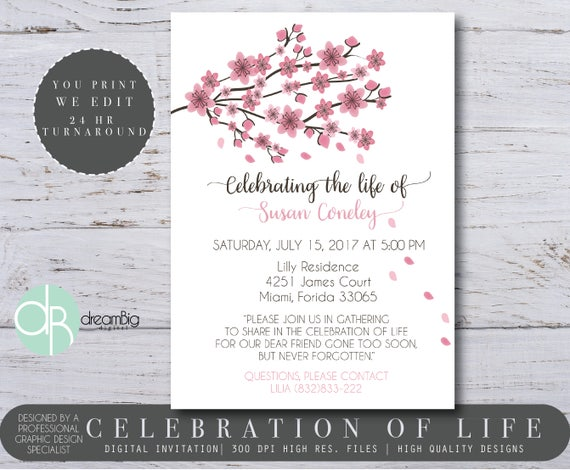 a celebration of life invitations cherry blossom tree memorial