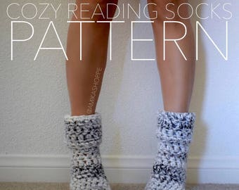 PDF - PATTERN ONLY -- Cozy Reading Socks - crocheted sock pattern