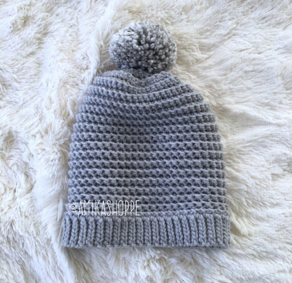 e8eac4b26e4 Slouchy Beanie    Gray Hipster Beanie with XL Chunky Ombre Pom