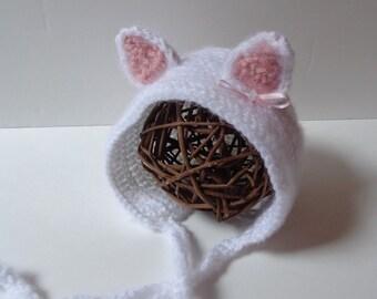 Newborn Crochet Cat Bonnet, Kitten Hat, Knit Hat, Photo prop, Baby boy, Baby Girl