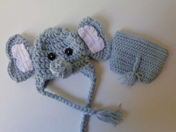 Newborn Crochet Elephant Hat and Diaper Cover photo prop baby  32a4c528c37