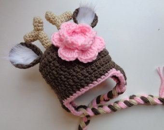 Newborn Girl White Tail Deer Crochet Hat Baby Girl Photo Prop