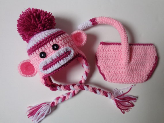 Newborn Crochet Pink Sock Monkey Hat And Diaper Cover Photo Etsy