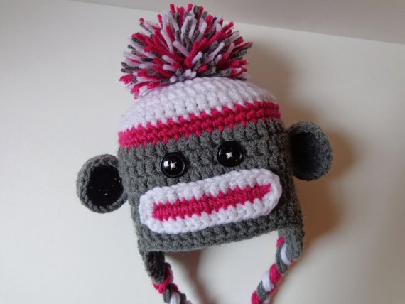 Newborn Crochet Girl Sock Monkey Hat Pink Gray Photo Prop Baby  aa903df55c83
