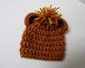Newborn Crochet Lion Hat, Lion Cub, Knit Hat, Baby Boy, Baby Boy, Photo Prop