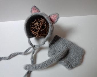 Newborn Crochet Cat Bonnet and Diaper Cover, Cat Hat, Knit Hat, Kitten Hat, Photo prop, Baby Girl, Baby Boy