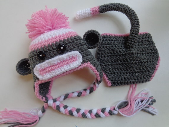 Newborn Pink Sock Monkey Hat and Diaper Cover  31bf1d3f2c6e