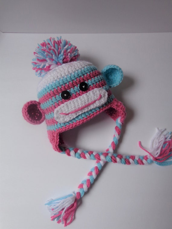 Ready to Ship 6-12 Month Crochet Girls Sock Monkey Hat Pink  a0230c72e9b0