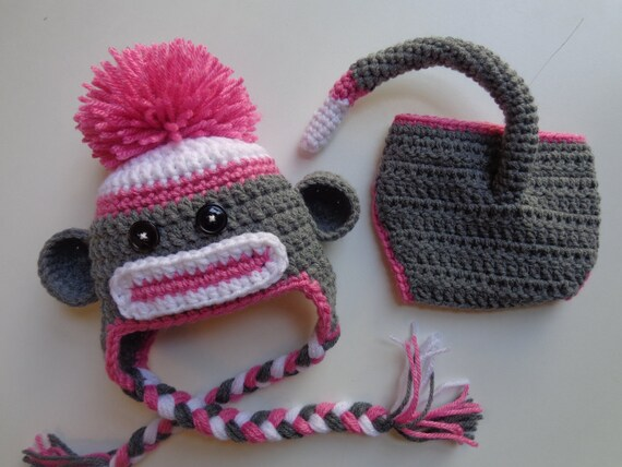 Crochet Newborn Girl Pink Sock Monkey Hat and Diaper Cover  8fd2913ac26c