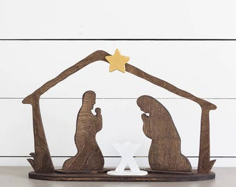 Modern Farmhouse Nativity Set/ Nativity Creche / Nativity Scene / Nativity Silhouette / Wood Manger Scene / Rustic Christmas Decor