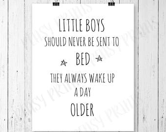 Little boys should never be sent to bed, little boys room, boy nursery, boy nursery wall art, little boy room decor, boy nursery decor