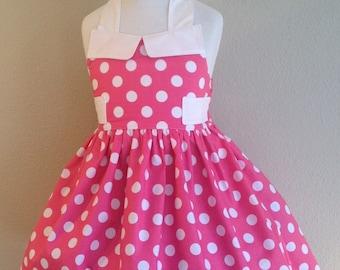 Minnie Mouse Inspired Dress, Pink Polka Dot, Minnie Inspired Dress, Pink Polka Dot Dress, Girl Dress, Ginger Dress, Dress, Dresses