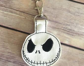 Jack Skellington inspired keychain, backpack charm, nightmare before christmas keychain