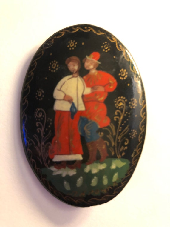 Hand-painted Black Lacquer Russian Brooch/ Pin / s
