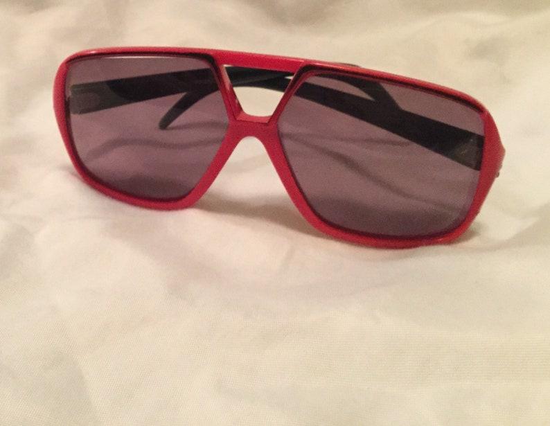 big eyes made in France- BOHO CHIC AVIATOR sunglasses 1970/'s vintage sunglasses big red plastic oversized polarized lens unisex